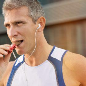 Runner eating candy