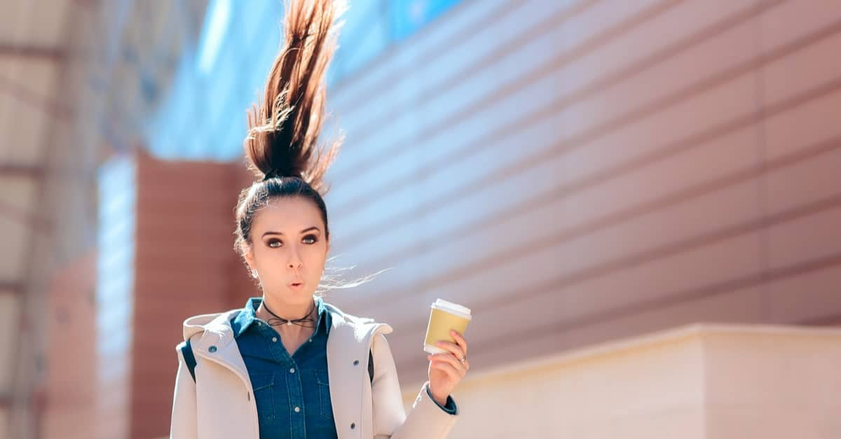 Girl with her hair standing up from caffeine